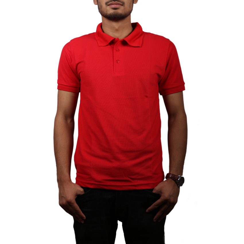 Red Solid Polo Neck 100% Cotton T-Shirt