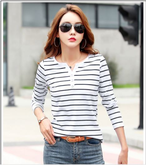 Women's T-Shirt Summer Wear Top V-neck Casual Shirts White Striped T-Shirt