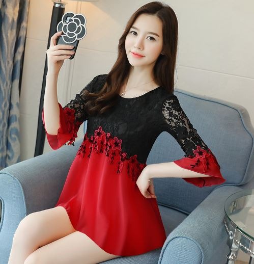 Chiffon Shirt Blouse Woman Fashion Summer Out Dress