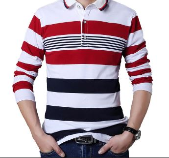 Men's T-shirt Stripe Pattern Letters Print Long Sleeved T-shirt Turn-down Collar Shirt T-shirt Big Size M - 5XL