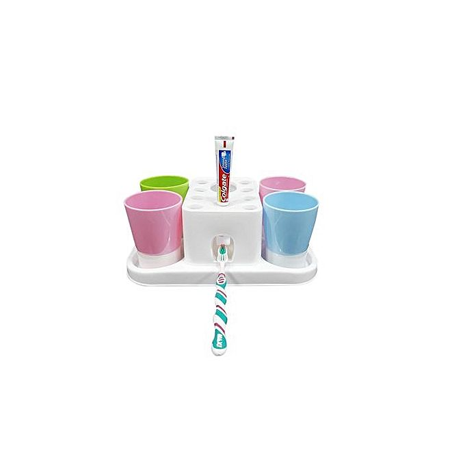 Automatic Toothpaste Dispenser Holder Gargle Suit With 4 Cups