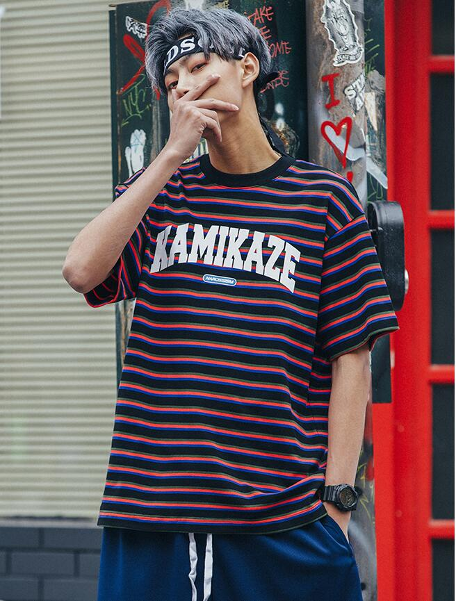 Yizlo summer men t shirt sexy striped loose hip hop kanye west t-shirt