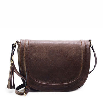 AMELIE GALANTI Large Saddle Bag Crossbody Bags for Women Brown Bags with Tassel Over Shoulder Long Strap