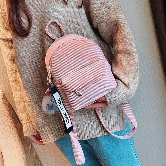 Women Mini Corduroy Miyahouse Teens Backpack Beautiful Backpack with Fuzzy Ball Small Children Shoulder Bags Women's Travel Bags