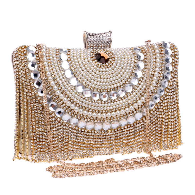 Rhinestone Beaded Metal Diamonds Night Clutch Bags Tassel Chain Shoulder Bag Messenger Bag Bag Evening Bags For Wedding