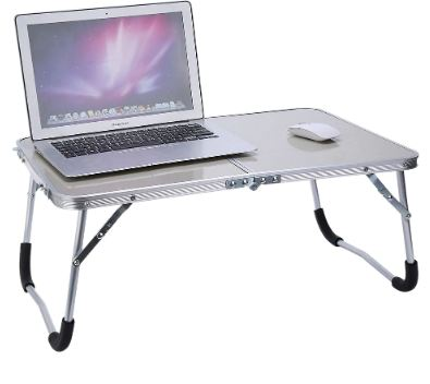 CSS Adjustable Portable Laptop Table Stand Folding Computer Reading Desk Bed Tray, White