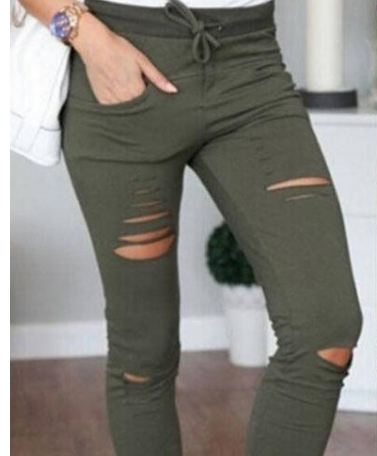 Skinny Jeans Women Denim Pants Holes Destroyed Knee Pencil Pants Casual Trousers Black White Stretch Ripped Jeans