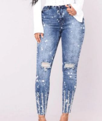 ripped fashion Jeans Women Classic High Waist Skinny Pencil Blue Denim Pants spliced Zipper washed Jeans women