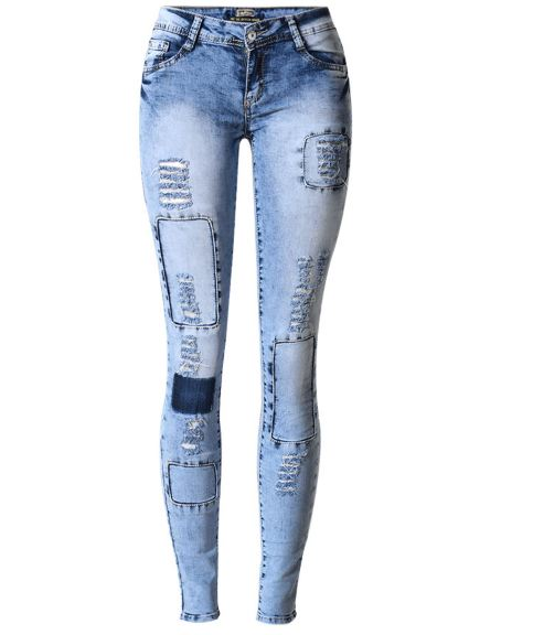 Ripped Jeans for Women Holes Skinny Jeans Slim Femme Womens Jeans Elastic Patchwork