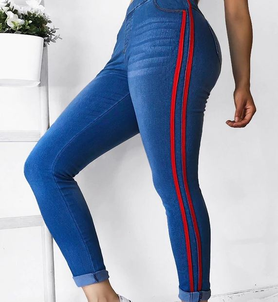 High Waist Jeans Woman Side Striped Patchwork Skinny Jeans All Matched Casual Pants Brief Slim Winter Boots Jeans