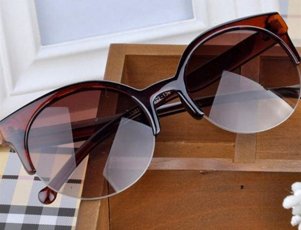 New Fashion Retro Designer Super Round Circle Glasses Cat Eye Women's Sunglasses Glasses