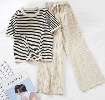 2019 women's fashion 2 piece set-sleeve short stripe sweater + high-rise casual high-leg pants women sportswear suit