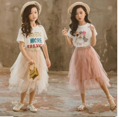2019 Retail Teenage Girls Baby Fashion Summer Sets, Cartoon T-Shirts + Sweet Knit Skirts Princess Fits 4-9 T