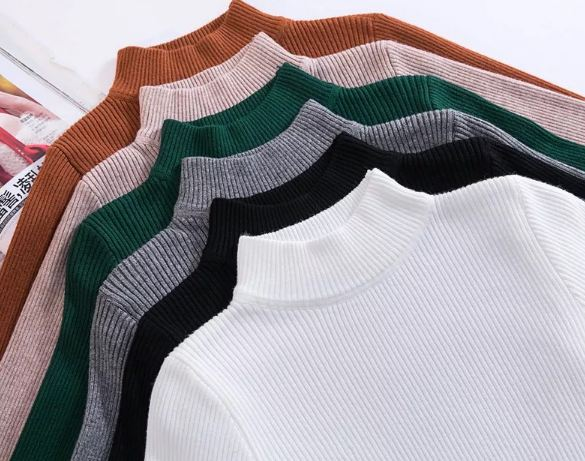 New-coming Autumn Turtleneck Pullovers Sweaters Primer shirt long sleeve Short Korean Slim-fit tight sweater