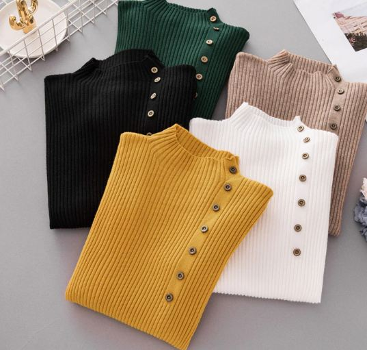 New Fashion Button Turtleneck Sweater Women Spring Autumn Solid Knitted Pullover Women Slim Soft Jumper Sweater Female