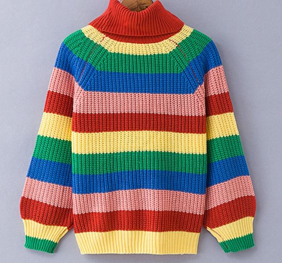 Rainbow turtleneck sweaters women winter 2018 jumpers knitted clothes fashion striped oversized pullover female