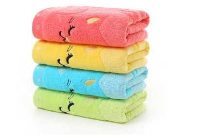 Small Towel Bamboo Fiber Music Cat Soft Towel Children's Jacquard Embroidered Wool Towels