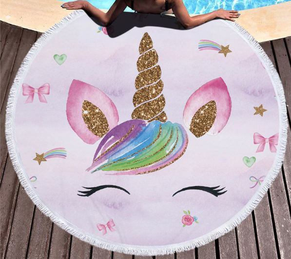 Unicorn Series Microfiber Beach Towel with Drawstring Backpack Bag Sport Yoga Blanket Swimming Bath Towel