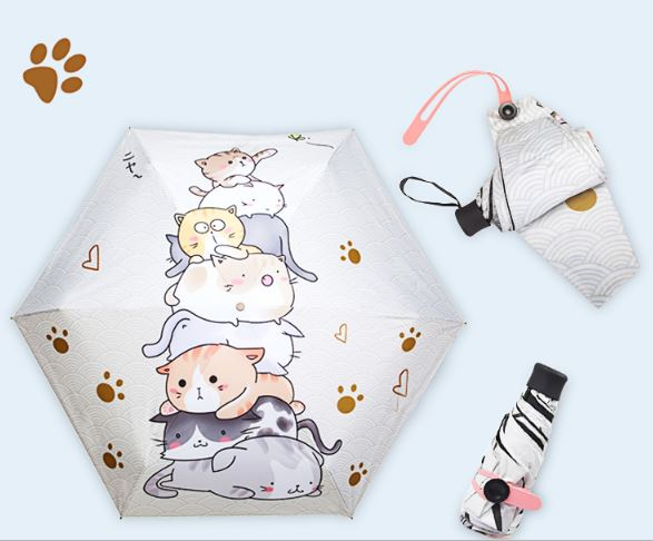 Female children's umbrella 5 folding umbrella Chinese cat dog cute uv TTK parasol sun cartoon small pocket mini umbrella Women umbrella