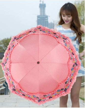 Women Rain Umbrella Double Sun Flower Lace Parasol 3 Anti-UV Vinyl Proof D 'Foldable Water Resistance Wind Umbrellas Lace Female