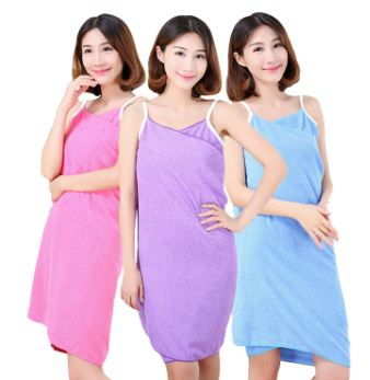 Women Bath Towel Wearable Beach Towel Soft Beach Wrap Skirt Super Absorbent Bath Gown