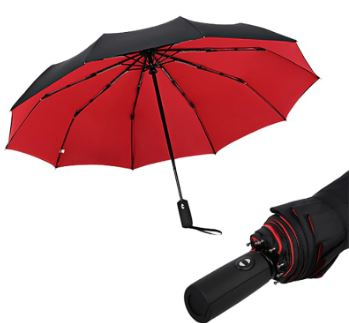 JPZYLFKZL Ten Bone Foldable Umbrella Automatic Umbrella Male Female Luxury Large Windproof Umbrella Car Rain Umbrella Men Black Ink