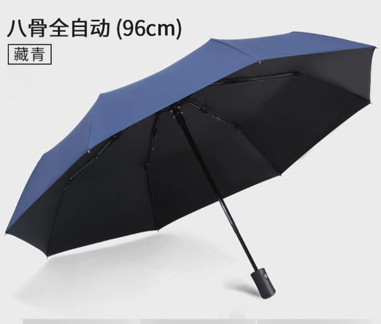 Sun Rain Umbrella Automatic Anti-UV Black Coating 3 Foldable Wind Resistant Auto Luxury Big Women Windproof 8-Strand Parasol