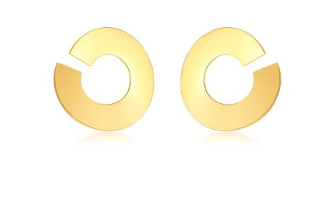 FINS Women's Stainless Steel Jewelry Gold Color Big Round Circle Stud Prisoner Earrings Fashion Women's Earrings 2018