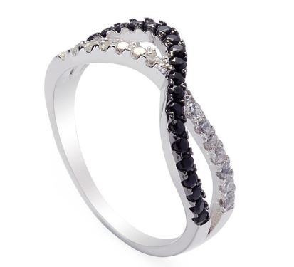 Eulonvan 925 Sterling Silver Jewelry Wedding Rings for Women Size Black and White Cubic Noble Generous Zirconia S-3745 6 7 8 9
