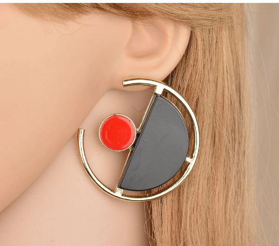 FINS Black Red Large Round Ear Studs Large Earrings Acrylic Earrings of Modern Women 2018 Geometric Earrings Jewelry