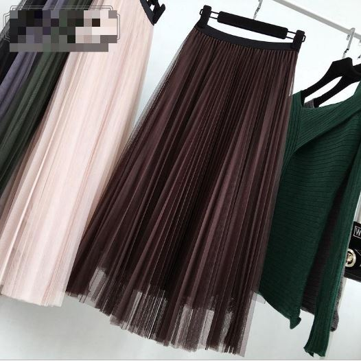 2019 Spring New Style High Waist Multi-layer Tulle Skirt Vintage Elegant Pleated Skirt Long Casual Skirts Free Shipping
