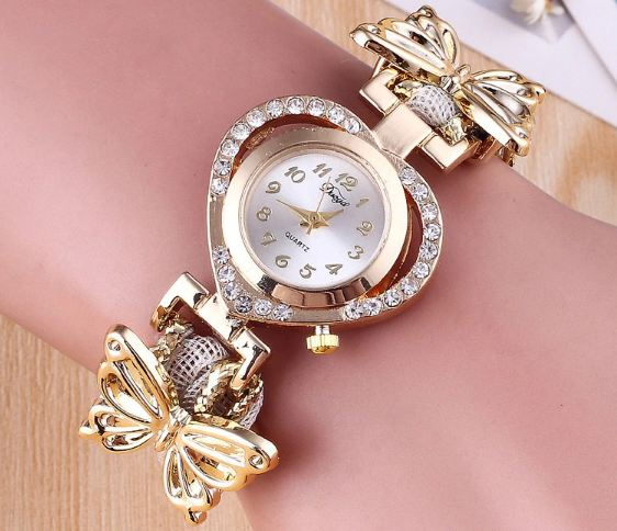 For Women Ladies' Wrist Heart Dial Stainless Steel Ladies Watch Gold Color Bracelet with Butterfly