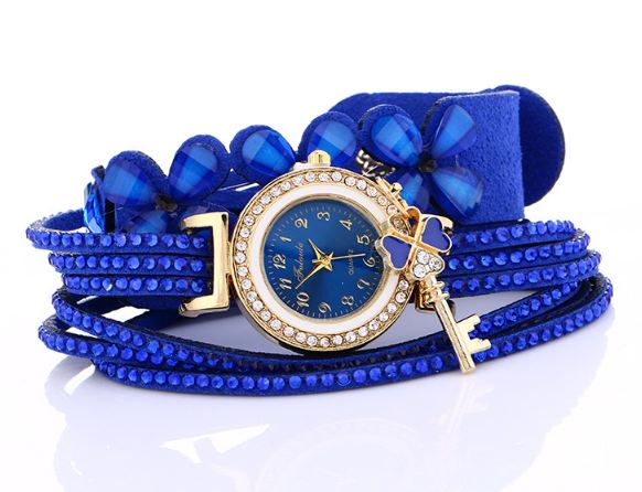 Brand Minhin Luxury Gold Rhinestones Bracelet Watch Women Casual Dress Velvet Strap Flower Quartz Wrist Watch
