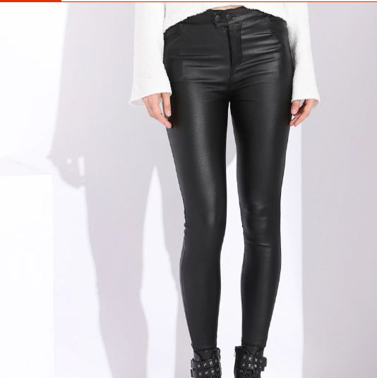 Women's Leather Pants Women Female Winter High Waisted Pants Leather Trousers Women PU Skinny Stretch Pencil Pantalons
