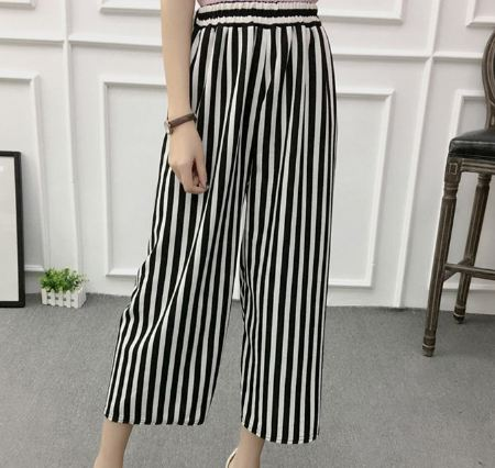 Women New Summer Wide Leg Pants Casual Loose High Elastic Waist Harem Pants Loose Belt Striped Elasticated Trousers