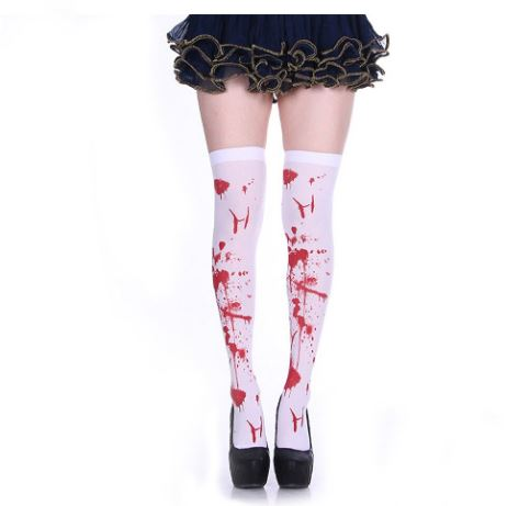 Ghost Festival Halloween Horror Fake Blood Printed At The Knee High Stockings High Stockings Thigh High Sexy Cosplay Stockings