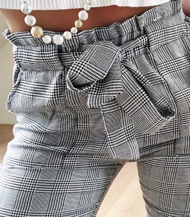 Fashion spring Vintage gray grid casual pants women pants trousers female streetwear capris summer pants
