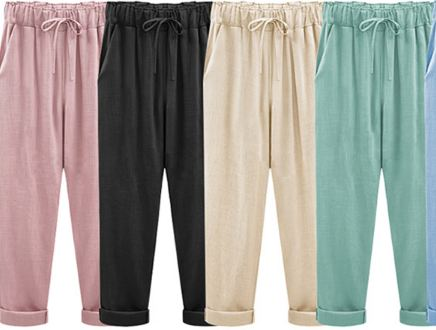 Women Pants Linen Cotton Casual Harem Pants Candy Color Harajuku Green Trousers Female Ankle-length Length Pants