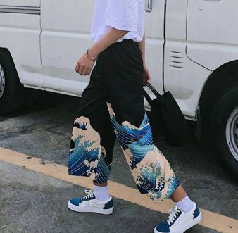 Ulzzang Casual Pants 2019 Summer Japanese Harajuku Leisure Loose Trousers Woman Cartoon Printed Wide Leg Pants