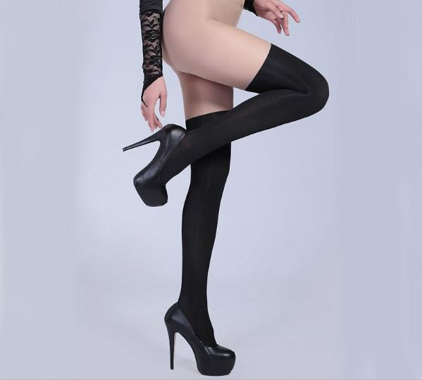 Women's Summer Elastic TightsLingerie With Imitation Knee-high Socks Sexy Pantyhose Leggings Femme Femme Suspender Black Sock 2019