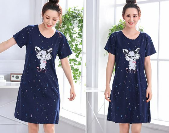 Cartoon Night Dress Women Sleepwear Plus size 5XL Ladies Nightwear kawaii Women Nightgown Homewear New Summer Home Dress