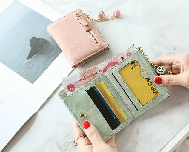 2019 New Fashion Women's Short Wallet Leather Wallet Card Holder Purse Small Zipper Purse For Girl Cute Casual Bifold Wallet Mini