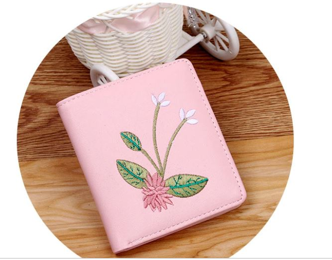 New Fashion Women's Flower Embroidery Wallets Purse Short Bolt Card Holder Coin Purse Student's Handbag PU Leather Multi -f