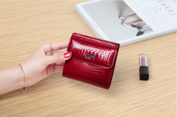 VICKAWEB Mini Wallet Women's Leather Wallets Genuine Alligator Fashion Short Bolt Wallet Small Female Female Wallets And Handbags 209