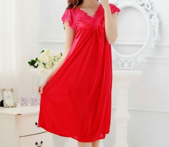 Free shipping women red lace sexy nightdress girls plus size Large size Sleepwear nightgown night dress skirt