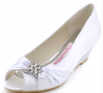 White Ivory Wedge Heels Peep Toe Wedding Shoes Party Prom Pumps Satin Women Wedding Shoes