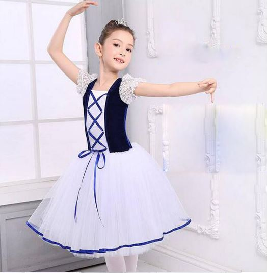 New Romantic Tutu Giselle Ballet Girls Dresses Velet Long Tulle Skirt Dress Child Ballerina Lace Short Sleeves Summer Dress