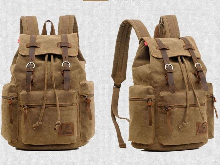Men's backpack vintage canvas backpack school bag men's travel bags large capacity travel laptop backpack bag