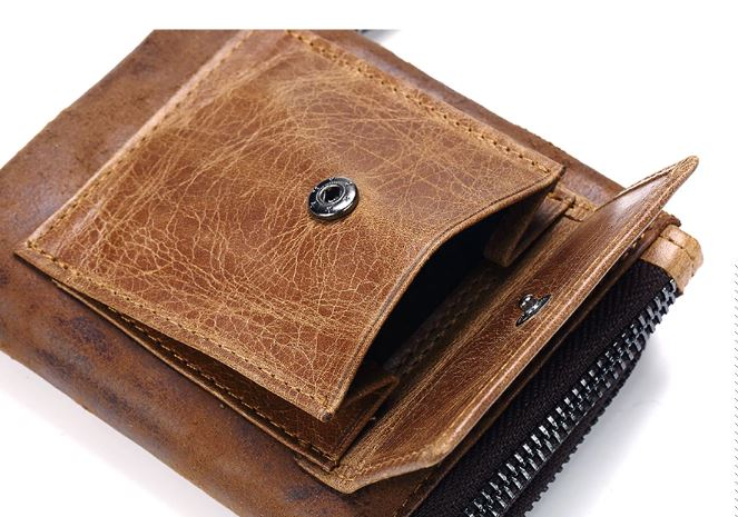 Leather Men's Wallet Fashion Card Holder Purse Wallet Small Men's Portomonee Clutch Clutch Zipper For Money
