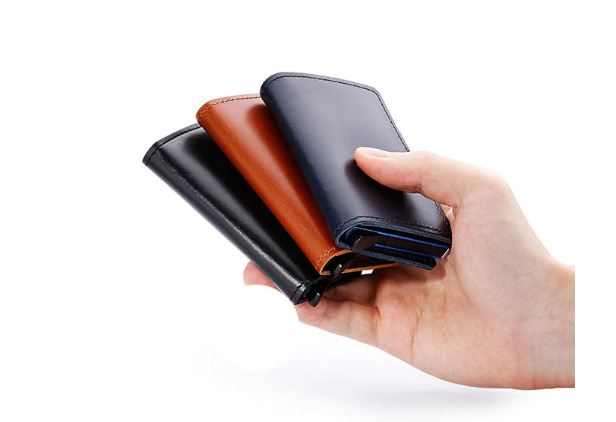 Leather Business ID Credit Card Metal Aluminum Card Case Holder Card Slim Mini Wallet Card for Men